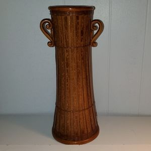 "12"" Tall Brown Bamboo Vase with Handles"